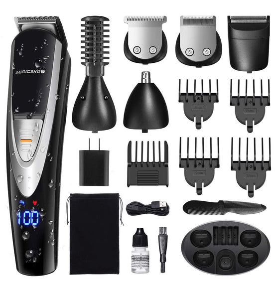 MIGICSHOW Electric Beard Trimmer for Men - Showerproof Hair Clipper 12 in 1 Grooming Kit