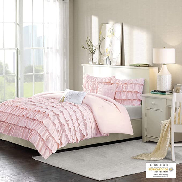 Intelligent Design Waterfall Comforter Reversible Solid Lush Ruffled Stripe Shabby Chic Twin/Twin XL