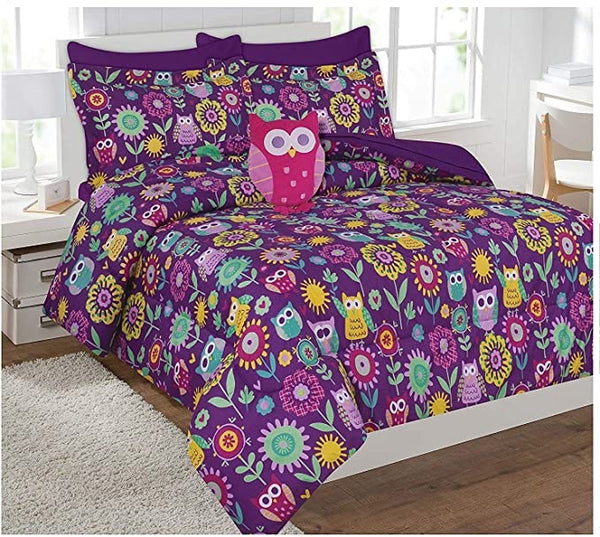Fancy Collection 8pc Full Size Kids/Teens Owl Purple and Flowers Design Luxury Bed in A Bag Comforter Set
