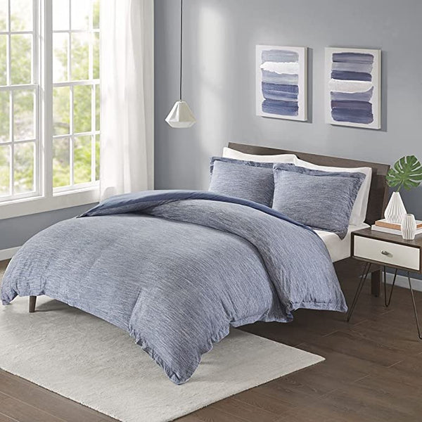Urban Habitat Space Dyed Melange Chic Reversible Hypoallergenic Cotton Jersey Knit 3 Piece Duvet Cover Set, Full/Queen, Blue