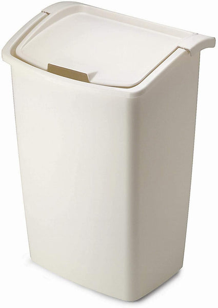 Rubbermaid FG280300BISQU Dual-Action Swing Lid Trash Can