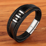 Genuine Leather/Stainless Steel Bracelet
