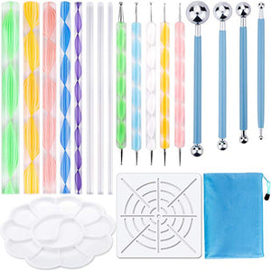 19PCS Mandala Dotting Tools Set Pen Dotting Tools Mandala Stencil Ball Stylus Paint Tray for Painting Rocks, Color, Draw & Draft - amalkids