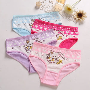 4 Pcs/Lot Cotton Soft Panties For Girls Lovely Baby Girls Underwear Cartoon Cat Briefs Breathable Children Panty Kids Underpants - amalkids