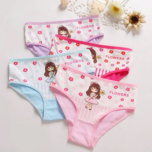 4 Pieces/lot New Design Children Girl Panties Cotton Soft Pretty Cartoon Child Underwear for kids Boxer girls Panties Breathable - amalkids