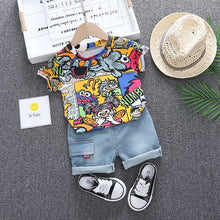 Load image into Gallery viewer, Baby Clothes Outfit Boys Summer Cartoon Animal Print T Shirt Set and Short Jeans Set for Boy Clothing Costume 1 2 3 4 Years - amalkids