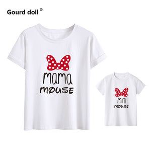 Cotton family matching clothes Outfits Mother And Daughter T-Shirt  Mommy and Me Clothes lovely Blouse kids baby girl boys Look - amalkids