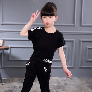 New Summer Girls Clothes Sets Children's Clothing Set Short Sweatshirt + Pants 2 Piece Baby Girl Clothes 3 4 5 6 8 9 10 12 Years - amalkids