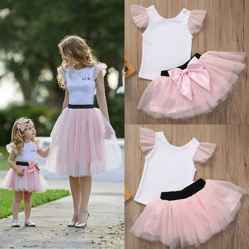 Family Matching Outfits Women Baby Girls Kids Skirt Sets Mother Daughter Sleeveless Top T-shirt Mini Tulle Tutu Skirt White Pink - amalkids