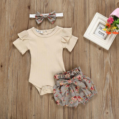 2019 new baby girl Solid Color Tops Clothing Newborn Kids Baby Girls Outfits Clothes Romper Bodysuit+Flower Printed Shorts Set - amalkids