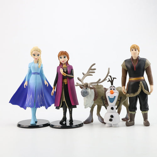 4/5/6/7pcs/set Princess Anna Elsa Fever 2 Snow Queen Action Figures Kristoff Sven Olaf Cartoon Movie PVC Toy Model Doll Kid Gift - amalkids