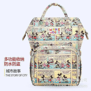 Disney fashion diaper bag travel mother and kid backpack large capacity multi-functional waterproof Mickey Minnie Mommy bag - amalkids