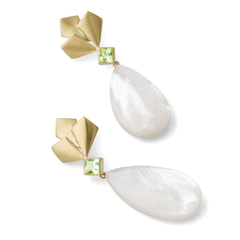Peridot Barrymore Earrings with Mother of Pearl Drops - Joan Hornig Jewelry