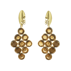Bubble Clip-on Earrings with Detachable Citrine Drops - Joan Hornig Jewelry