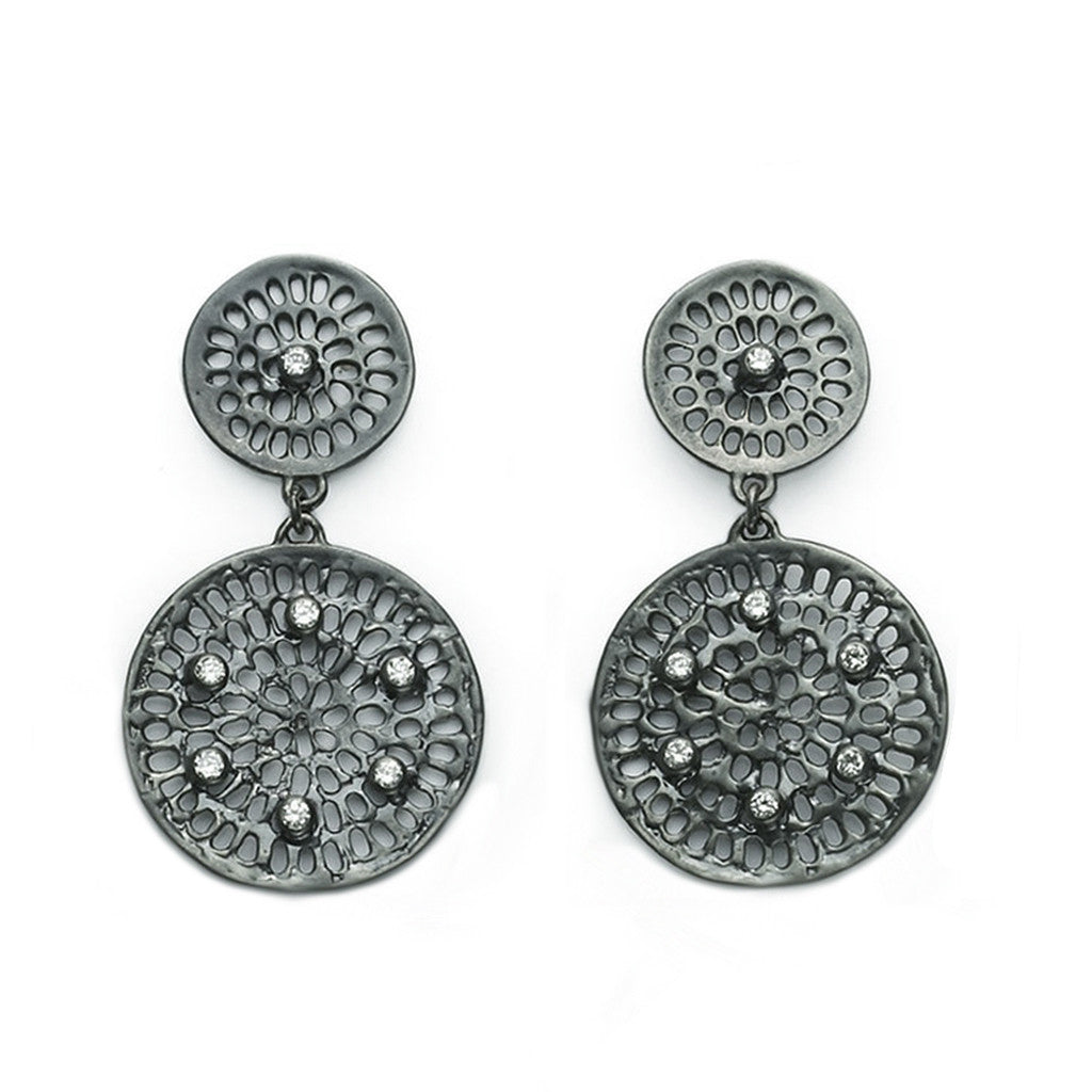 Double Diamond Pinwheel Earrings - Black Rhodium - Joan Hornig Jewelry
