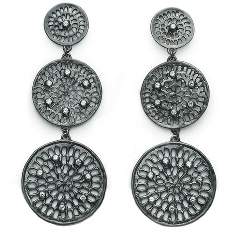 Diamond Triple Pinwheel Earrings - Black Rhodium
