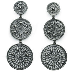 Diamond Triple Pinwheel Earrings - Black Rhodium - Joan Hornig Jewelry