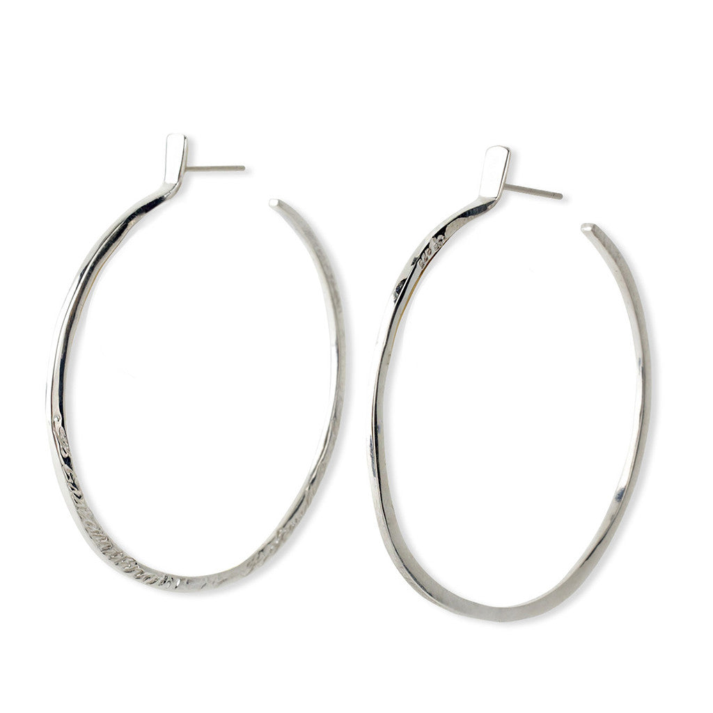 Message Hoop Earrings - Sterling Silver - Joan Hornig Jewelry