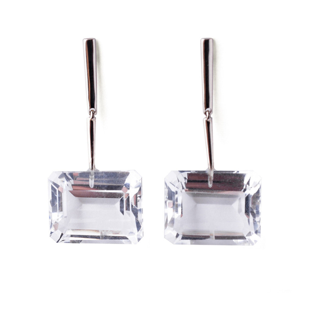 Reverse Georgette Earrings - White Gold - Joan Hornig Jewelry