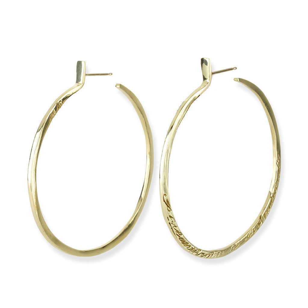 Message Hoop Earrings - Gold - Joan Hornig Jewelry