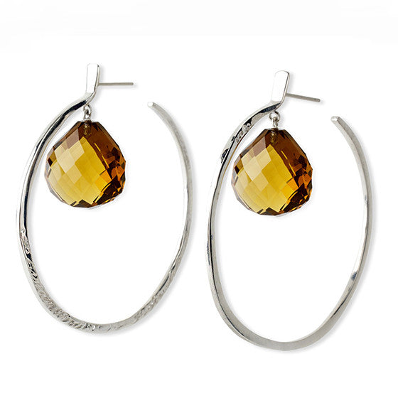 Message Hoop Earrings - Sterling Silver with Heart Shaped Briolette Stones - Joan Hornig Jewelry