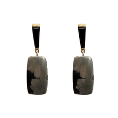 George V Onyx & Pyrite Earrings