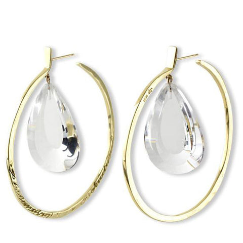 Message Hoop Earrings - Gold with Tear Drop Stones
