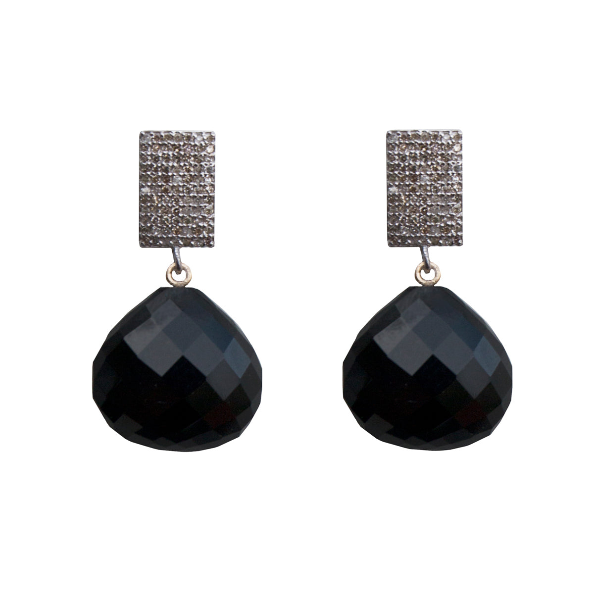 Diamond Earrings with Onyx Drops - Joan Hornig Jewelry