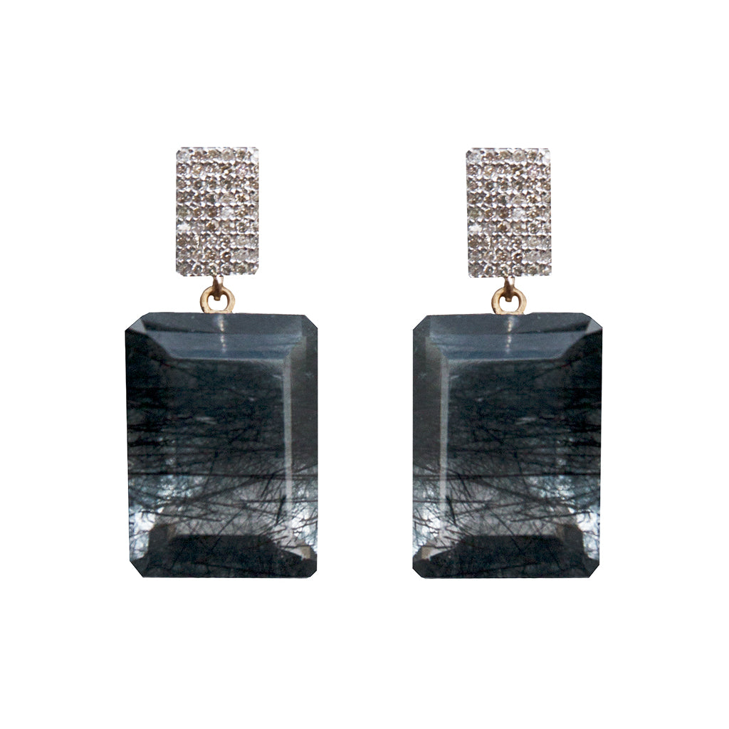 Diamond Earrings with Tourmalated Quartz Drops - Joan Hornig Jewelry