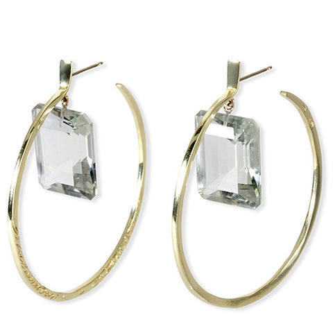 Message Hoop Earrings - Gold with Emerald Cut Stone Drops