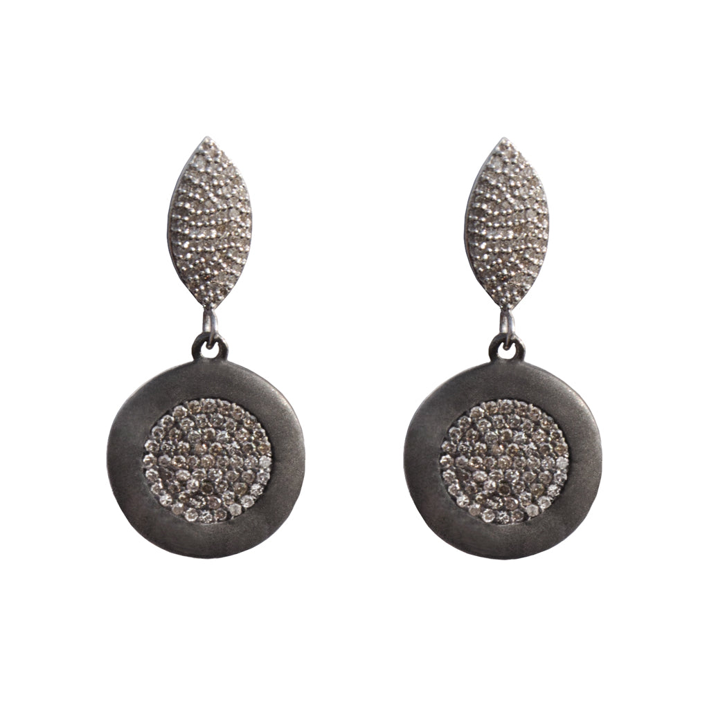 Diamond Marquee Earrings with Diamond Rhodium Disc Drops - Joan Hornig Jewelry