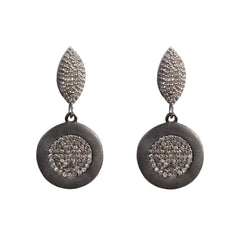 Diamond Marquee Earrings with Diamond Rhodium Disc Drops