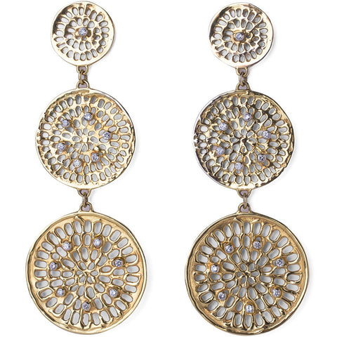 Diamond Triple Pinwheel Earrings