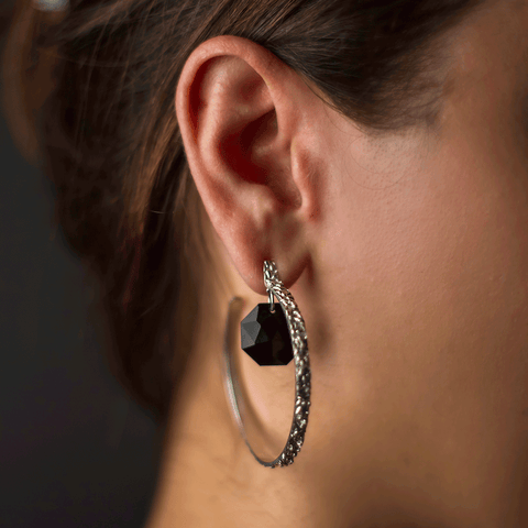 Black Tahini Hoop Earrings