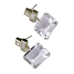 Marilyn Earrings - Gold & Rock Crystal - Joan Hornig Jewelry