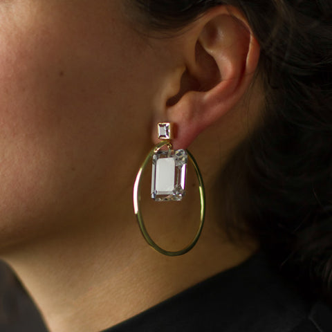Bezeled Message Hoop Earrings