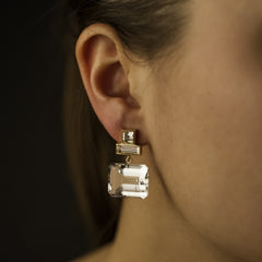 Marilyn Earrings - White Gold & Rock Crystal - Joan Hornig Jewelry