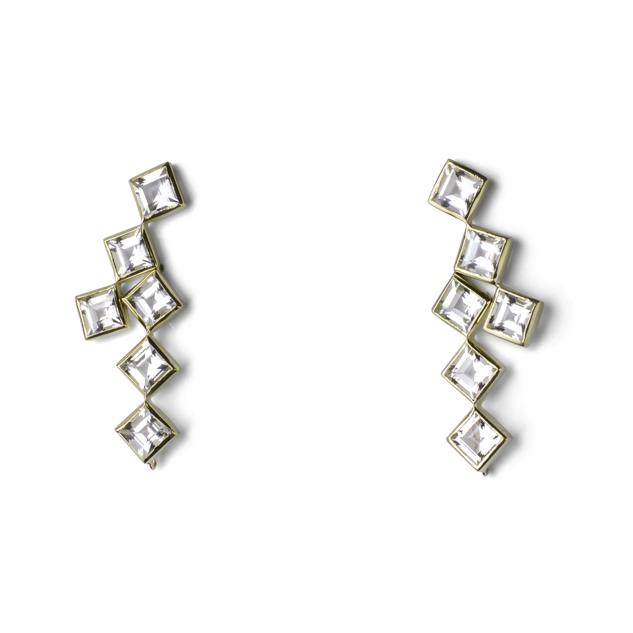 Crosswalk Earrings - White Topaz - Joan Hornig Jewelry