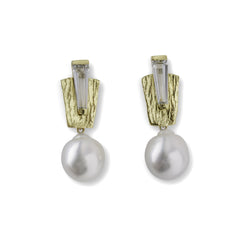 Marquee Earrings with South Sea Pearl Drops - Joan Hornig Jewelry