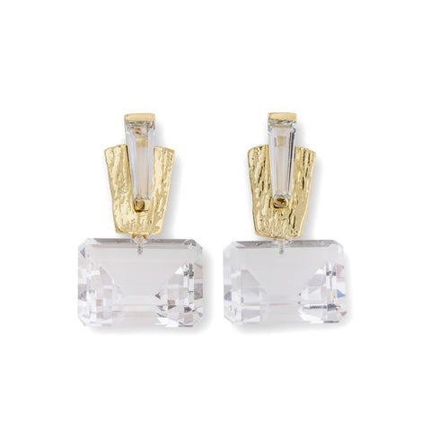 Marquee Clip Earrings with White Topaz Drop