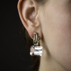 Marquee Earrings with White Topaz Drop - Joan Hornig Jewelry