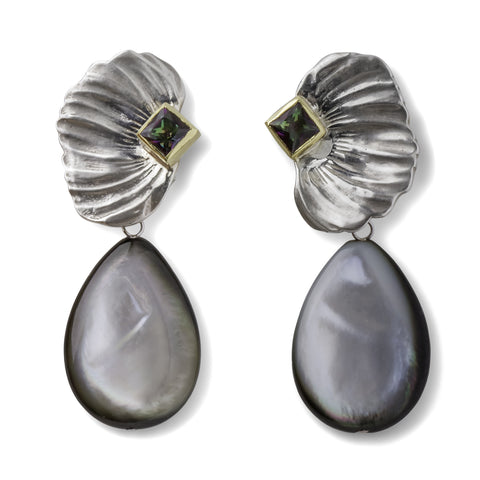 Feather Earrings with Black Mother of Pearl Drops