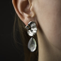 Feather Earrings with Black Mother of Pearl Drops - Joan Hornig Jewelry