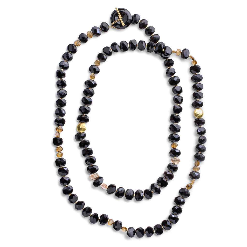 Onyx & Citrine Thumbprint Necklace - Joan Hornig Jewelry