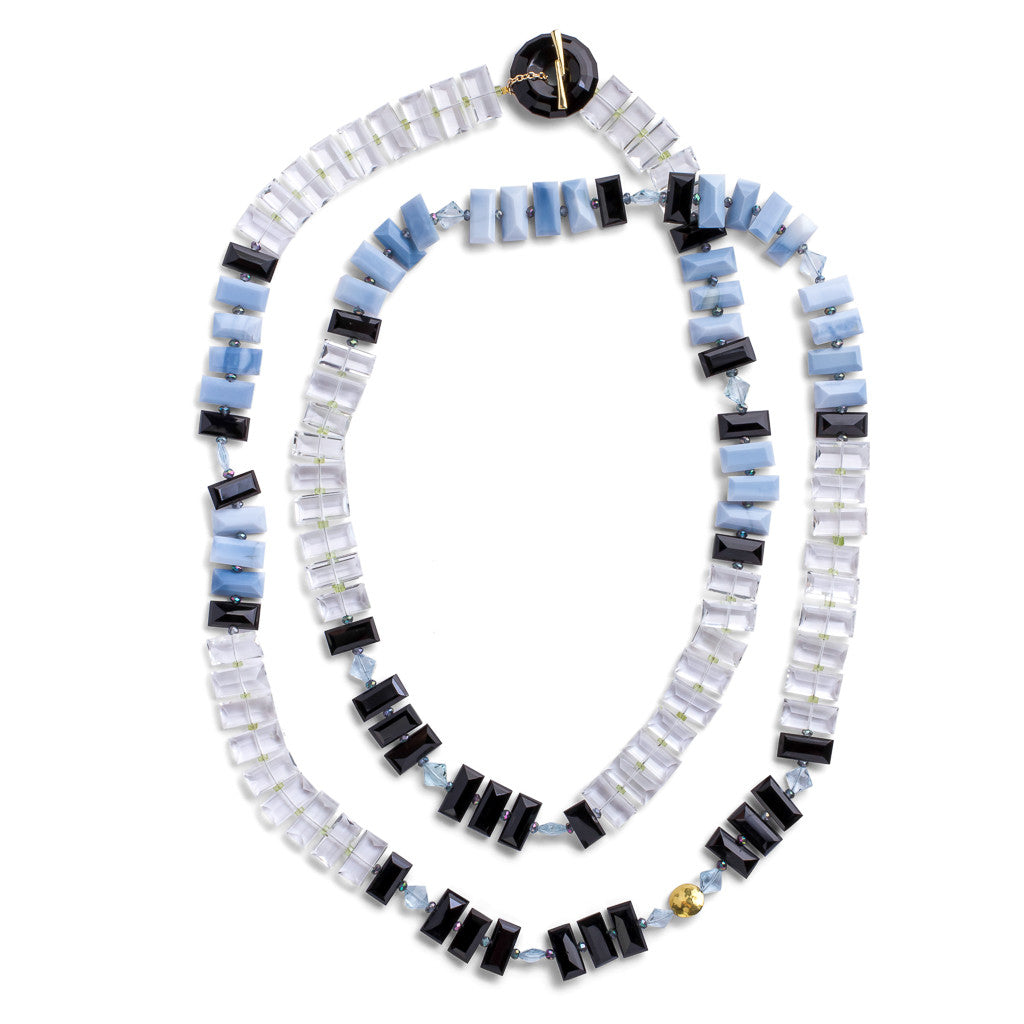 Blue Opal & Onyx Piano Key Necklace - Joan Hornig Jewelry