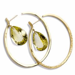 Message Hoop Earrings - Gold with Tear Drop Stones - Joan Hornig Jewelry