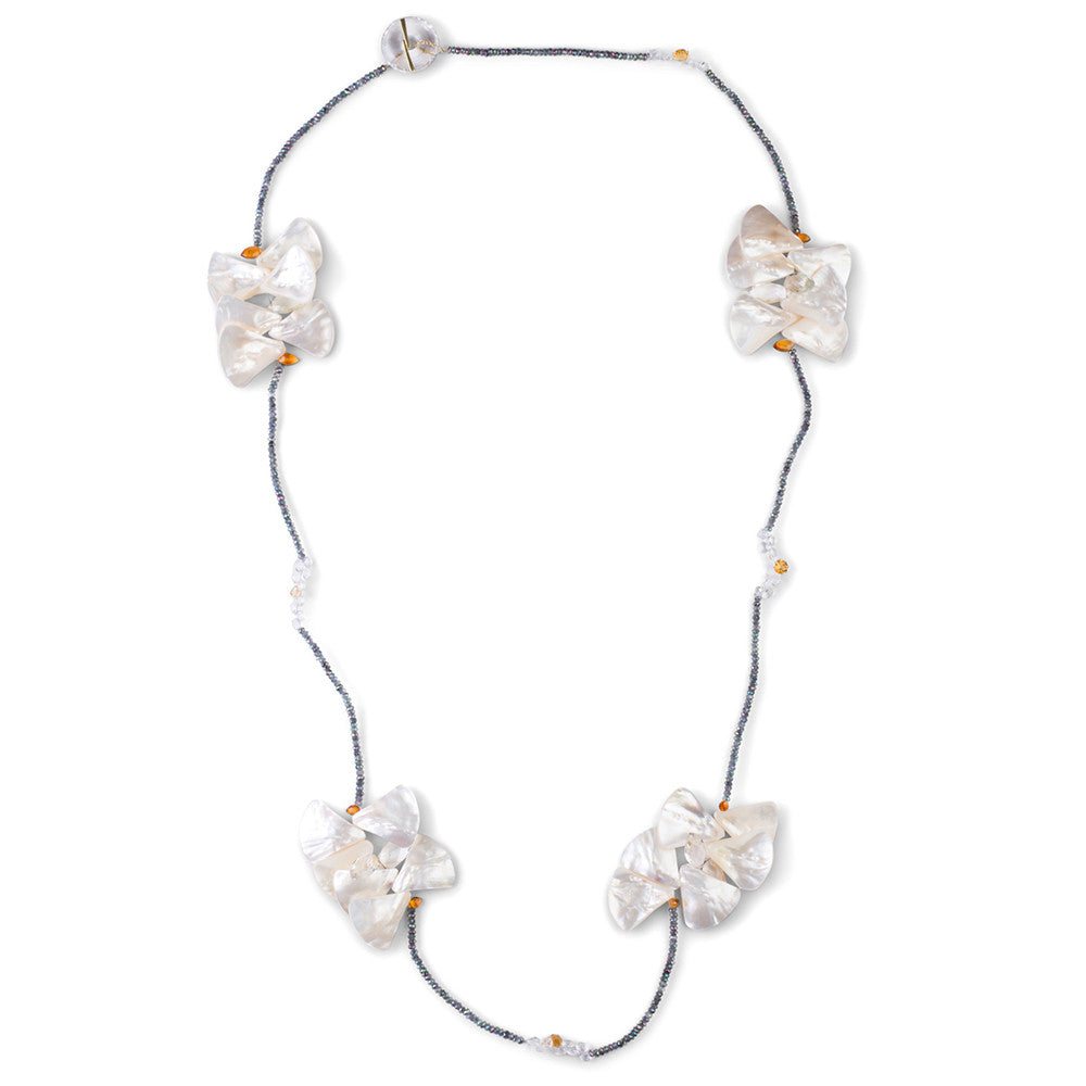 Mother of Pearl & Mystic Topaz Butterfly Necklace - Joan Hornig Jewelry