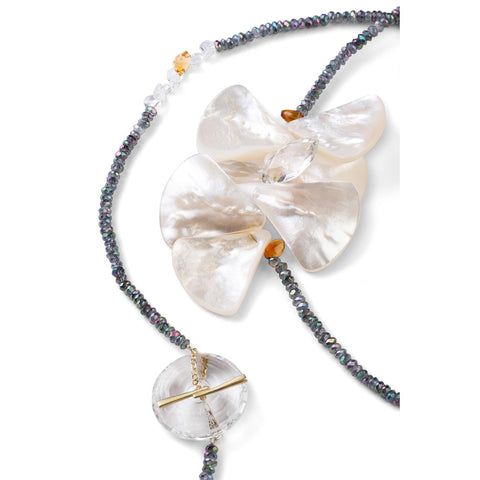 Mother of Pearl & Mystic Topaz Butterfly Necklace