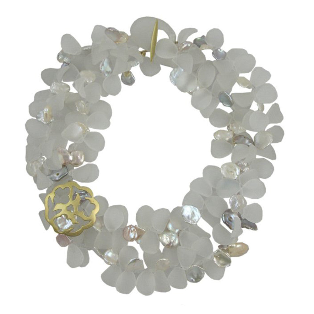 Frosted Quartz & Keshi Pearl Petal Necklace - Joan Hornig Jewelry
