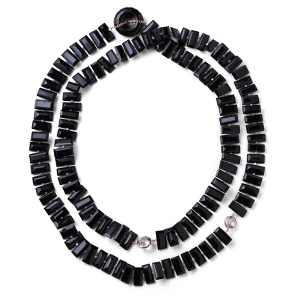 Onyx & White Topaz Piano Key Necklace - Joan Hornig Jewelry